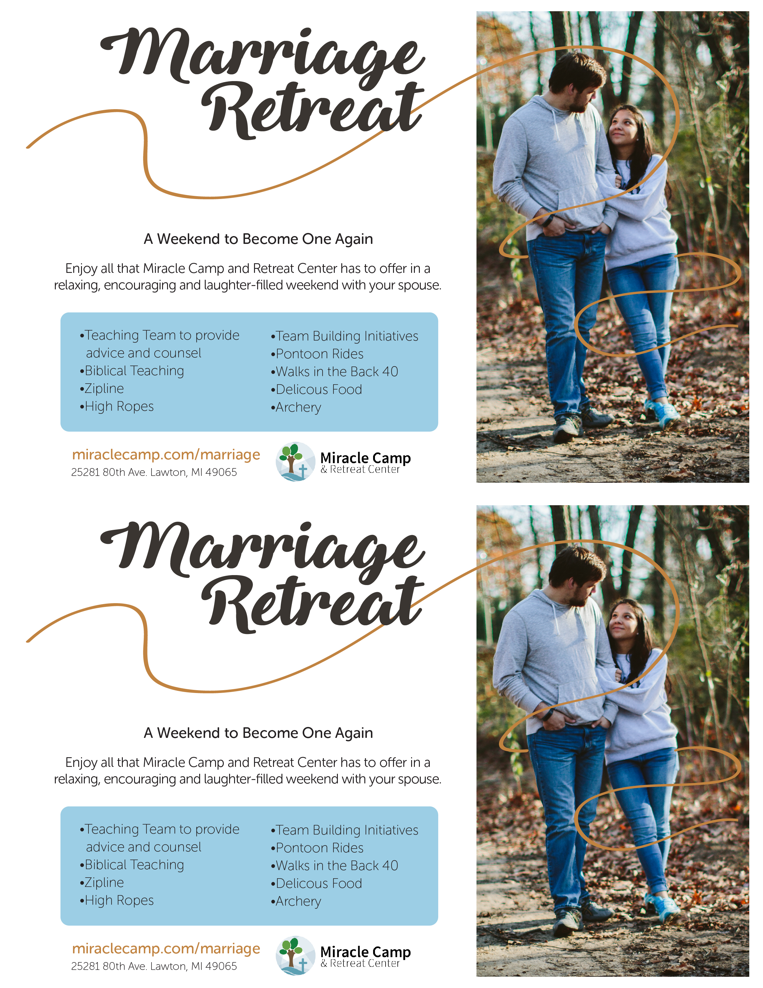 Marriage Retreat Promotional Page | Miracle Camp and Retreat Center